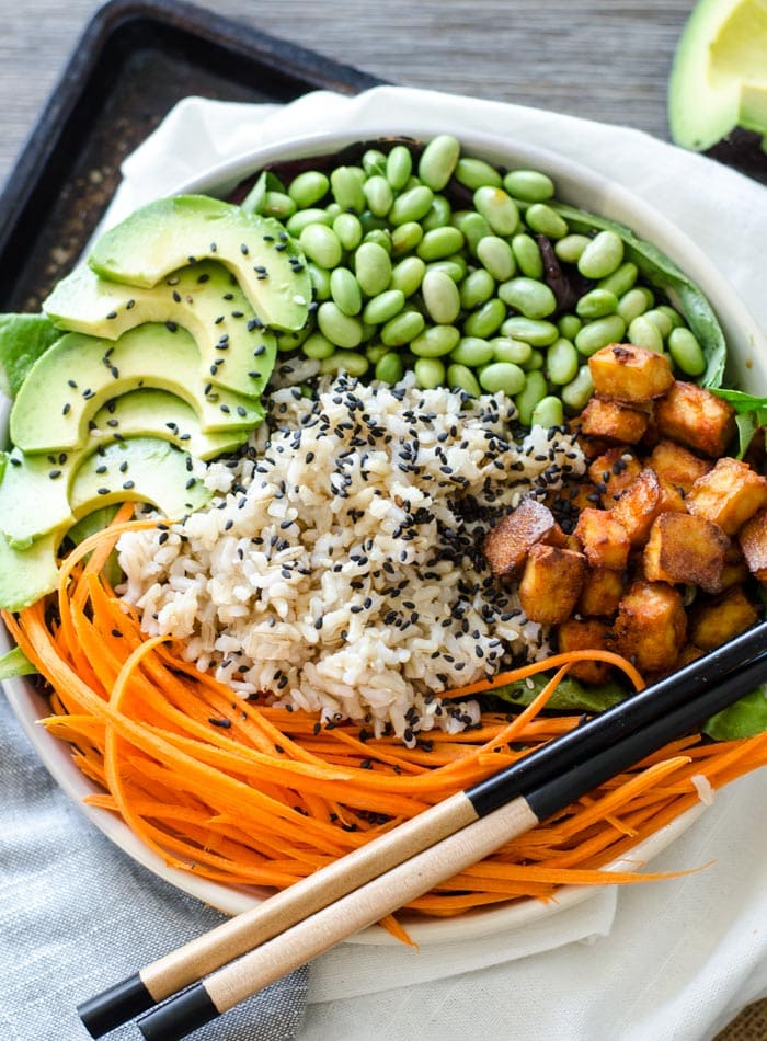 Sriracha Baked Tofu Brown Rice Bowls   a vegan take on ...
