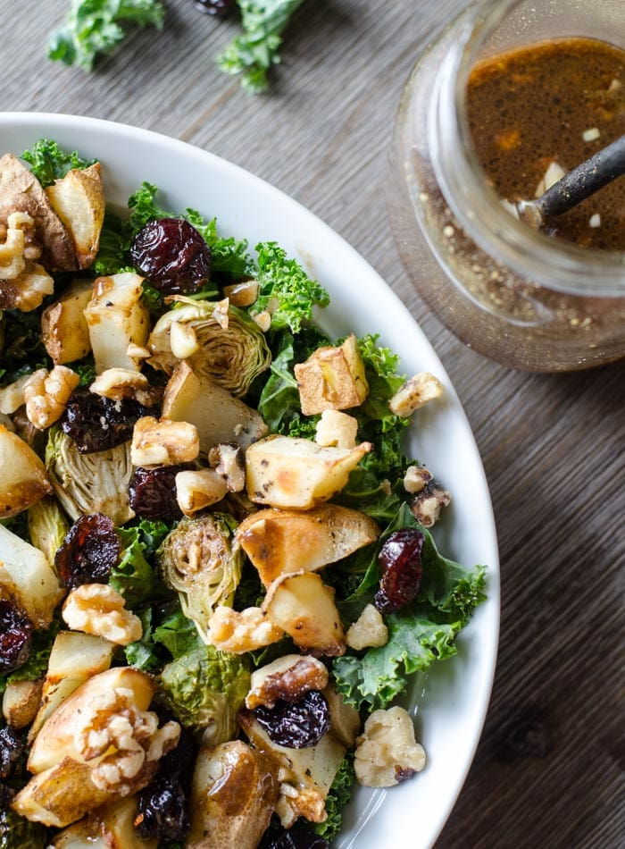 Roasted Potato Kale Salad with Balsamic Vinaigrette | vegan and gluten-free