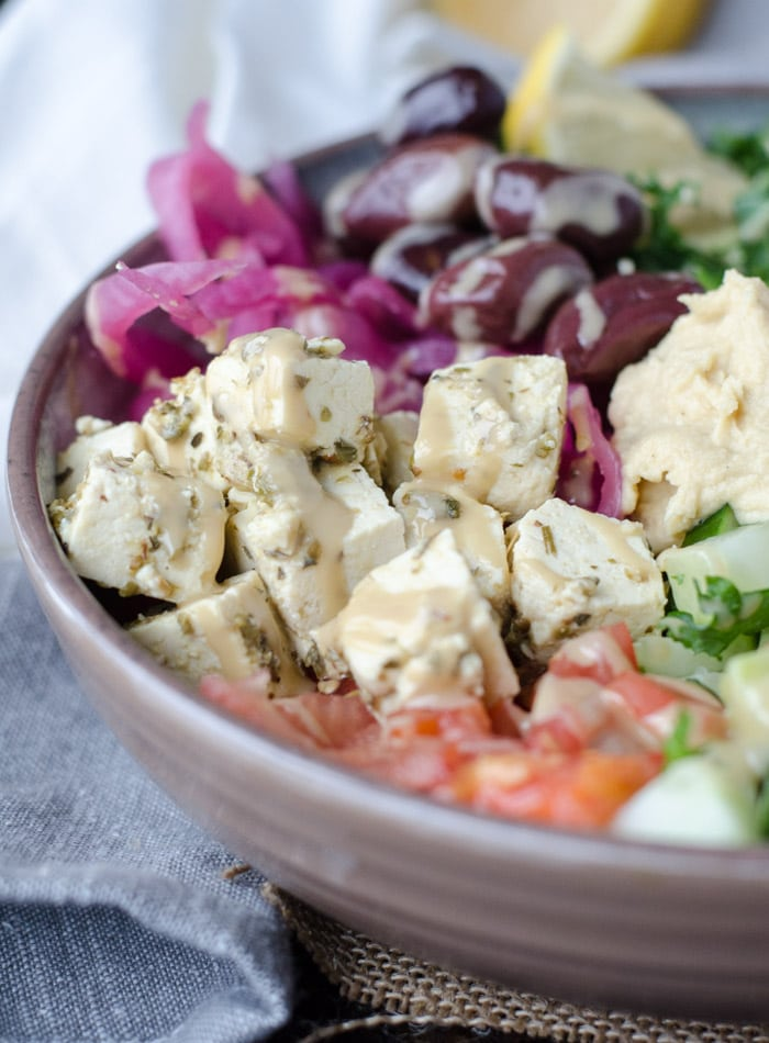 Vegan Mediterranean Quinoa Bowls with Tofu Feta | gluten-free | Running on Real Food