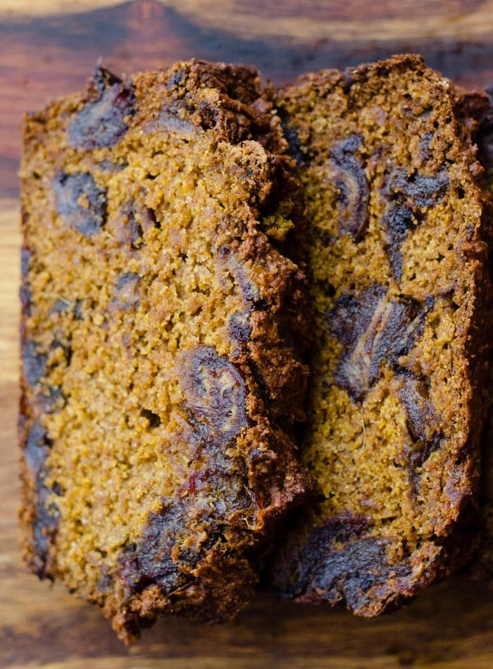 Vegan Pumpkin Date Bread made with Spelt Flour and Coconut Sugar