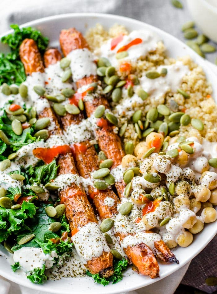 Carrot, chickpea and quinoa salad bowl.