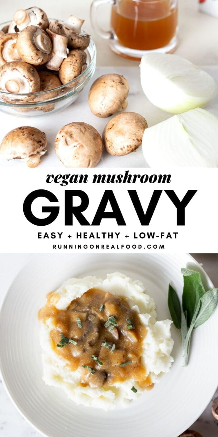 Pinterest graphic with an image and text for vegan mushroom gravy.