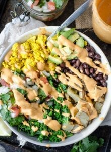 Vegan Breakfast Burrito Bowl with Cashew Chipotle Sauce and Pico de Gallo
