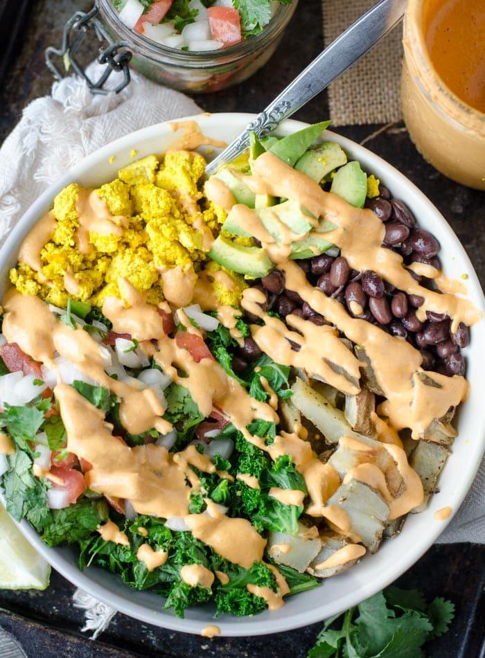 Vegan Breakfast Burrito Bowl with Cashew Chipotle Sauce and Pico de Gallo