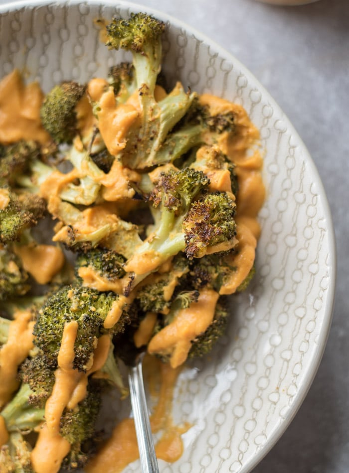 Crispy Cheesy Roasted Broccoli wth Vegan Cheese Sauce