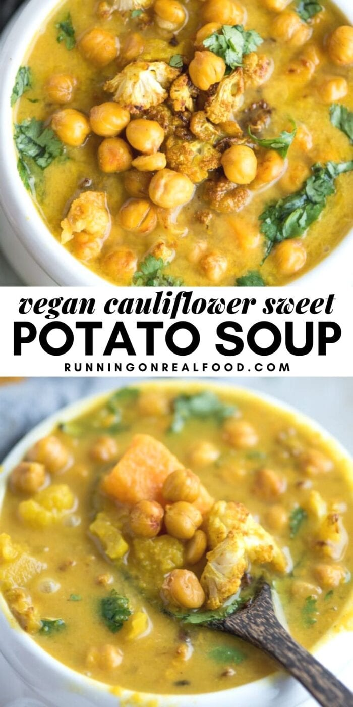 Pinterest graphic with an image and text for a sweet potato cauliflower soup.