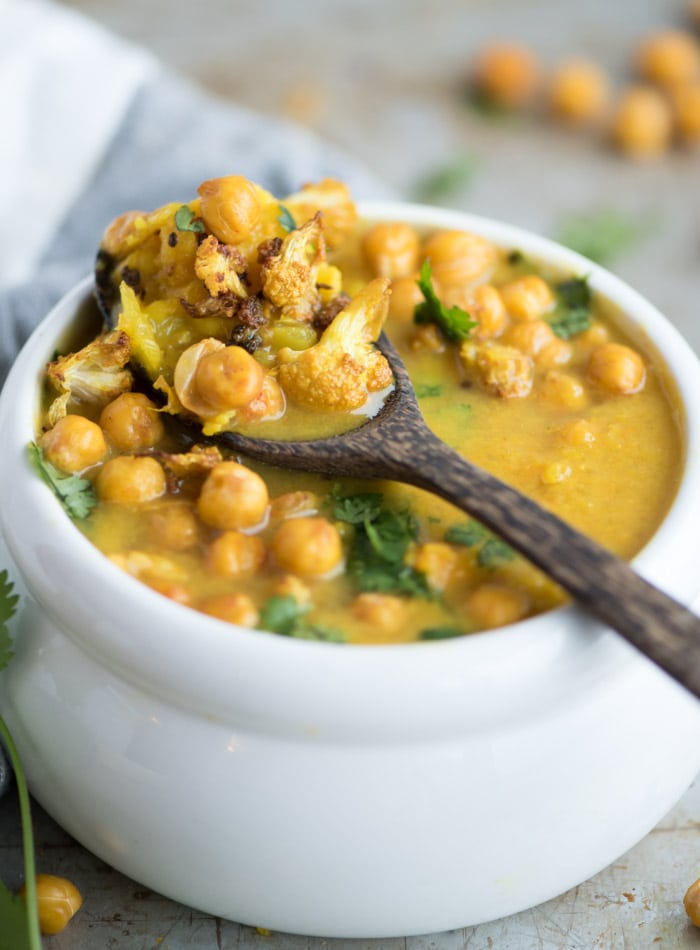 Cauliflower Sweet Potato Turmeric Soup with Roasted Chickpeas