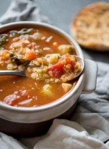 Red Lentil Tomato Soup with Kale and Brussel Sprouts