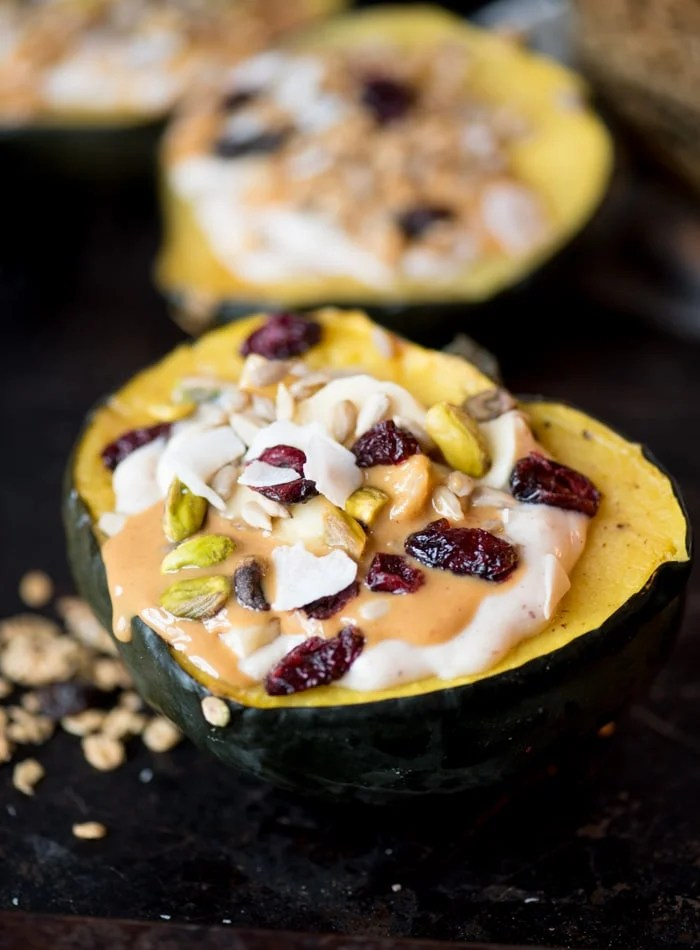 Stuffed Acorn Squash Breakfast Bowls Vegan and Gluten-Free
