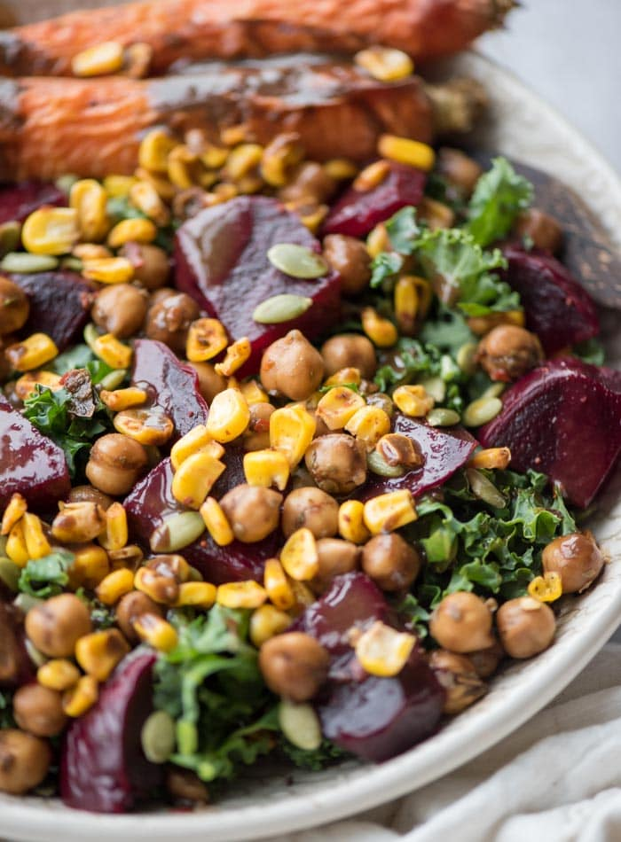 Vegan Roasted Beet Salad with Roasted Carrots and Marinated Chickpeas