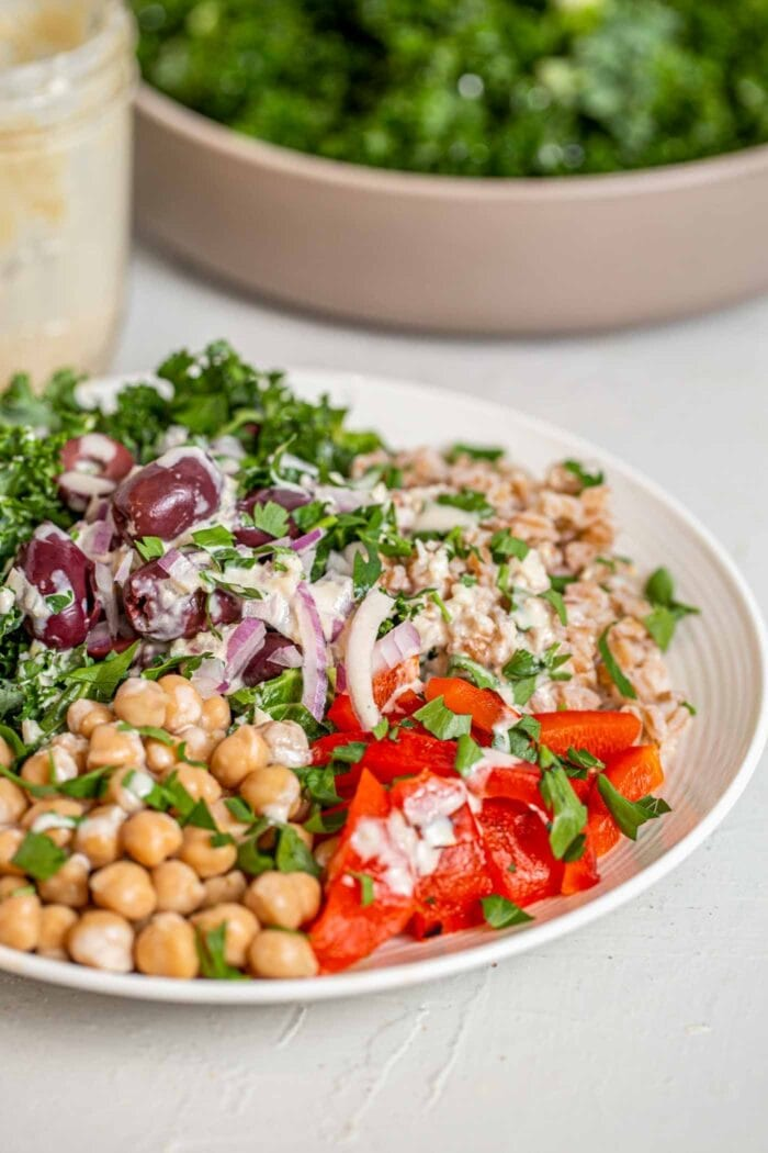 A salad with roasted red peppers, chickpeas, red onion, kale, farro and olives.