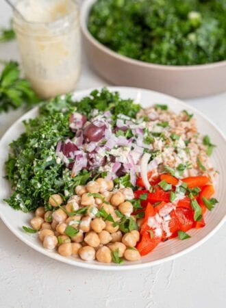 A big bowl filled with chickpeas, farro, kale, roasted red peppers and red onion.