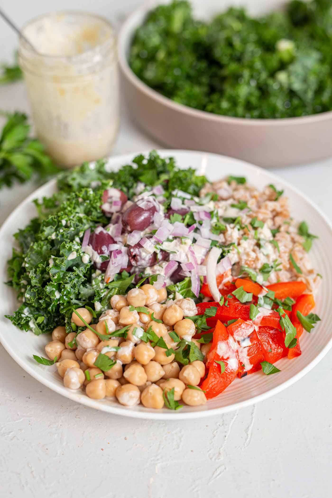 Mediterranean Farro Salad With Tahini Sauce Running On Real Food
