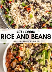 Pinterest graphic with an image and text for an easy rice and beans recipe.