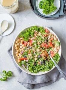 Healthy Vegan Mediterranean Farro Salad Bowls