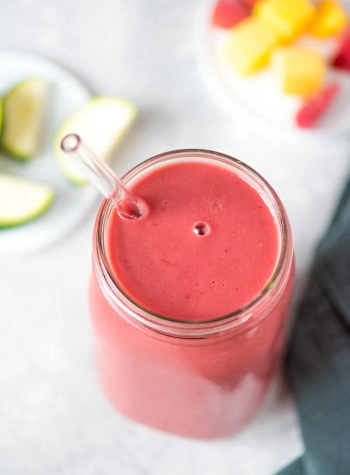 Vegan Mango Strawberry Smoothie with Almond Milk