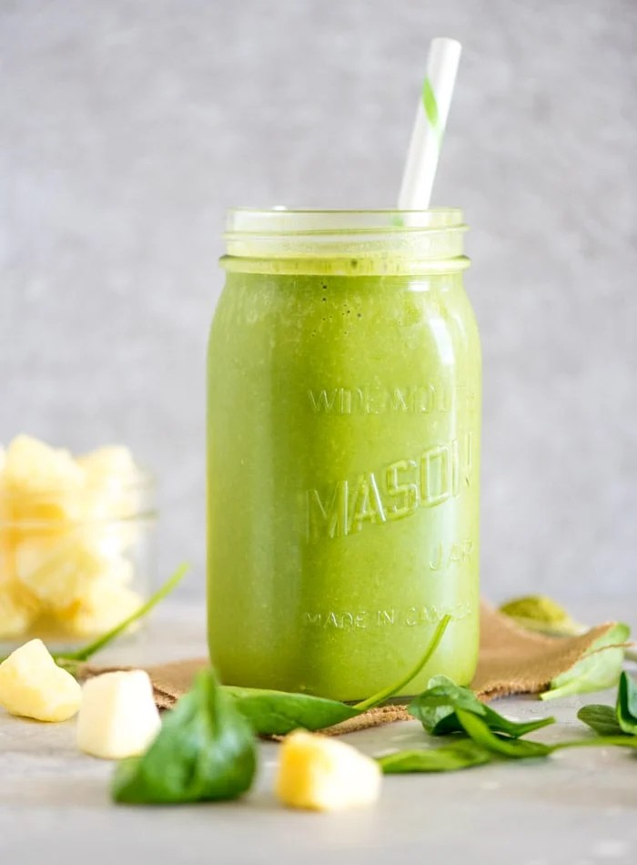 Healthy Green Mango Pineapple Smoothie | Vegan