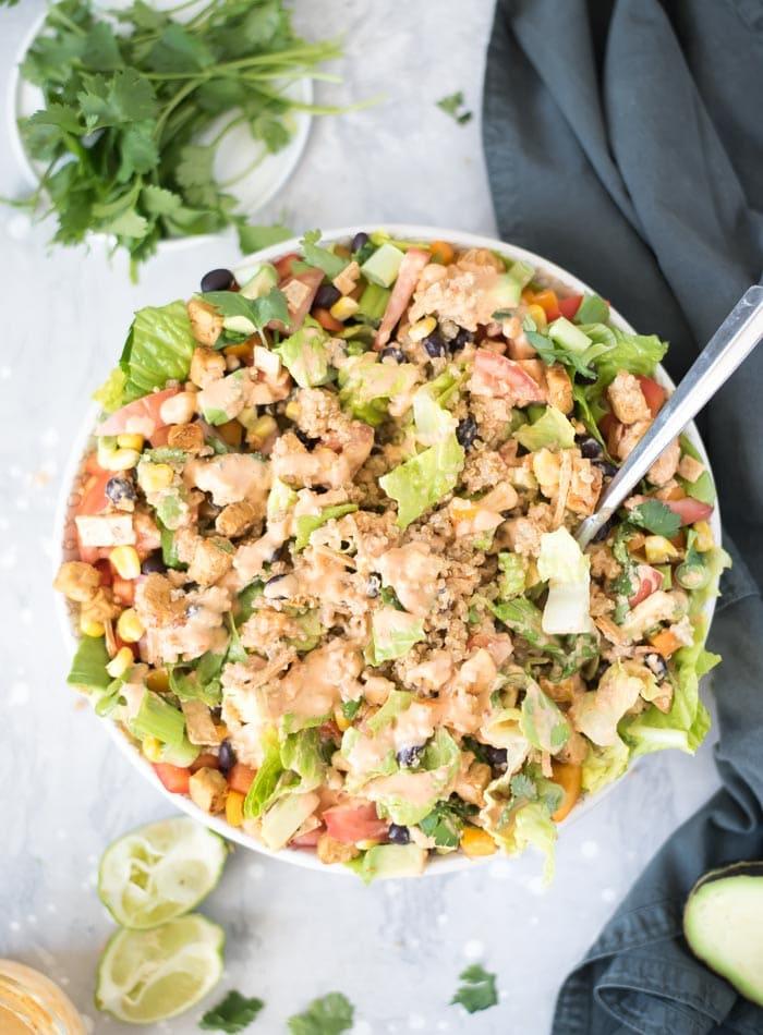 Healthy Vegan Quinoa Fiesta Salad with Chipotle Sauce
