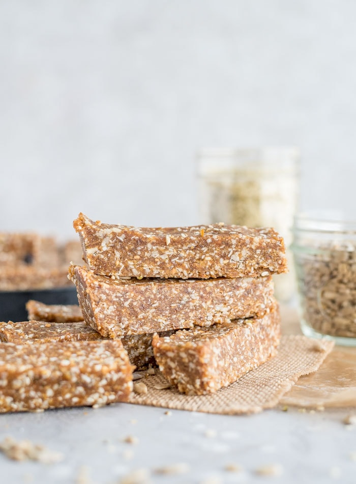 Vegan Healthy Homemade Energy Bars with Hemp Seeds and Sunflower Seeds