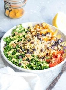 Healthy Vegan Roasted Butternut Squash Freekeh Salad Bowls | oil-free and high in protein for a healthy, easy vegan meal