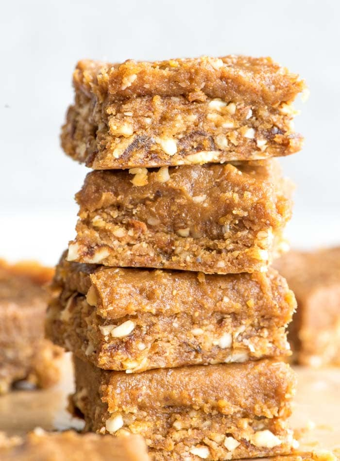 Vegan No-Bake Peanut Butter Blondies with Peanut Butter Frosting   an easy to make, gluten-free, refined sugar-free vegan dessert recipe with just a few basic ingredients