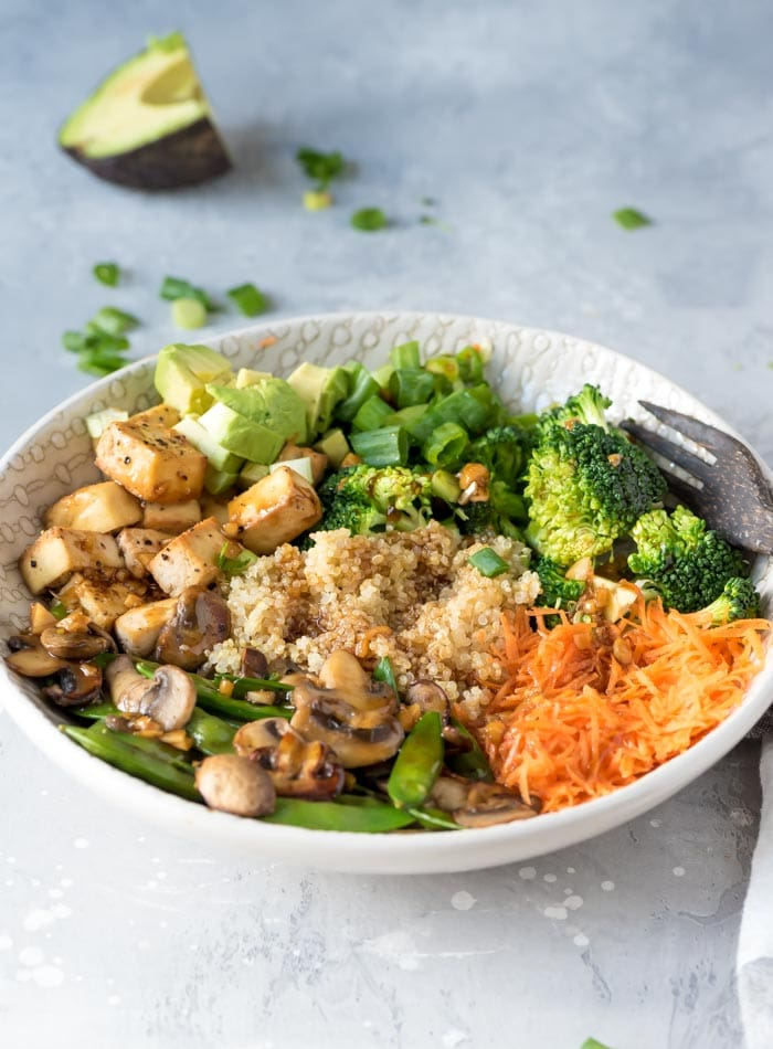 Vegan Teriyaki Quinoa Bowl with Tofu and Veggies | A Healthy Vegan Meal for Lunch or Dinner | gluten-free