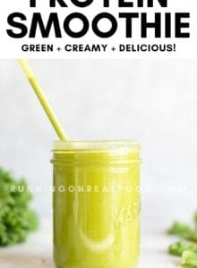 Pinterest graphic with an image and text for a kale and spinach smoothie.