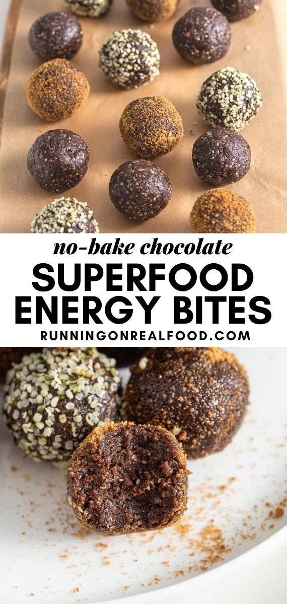 Pinterest graphic with an image and text for superfood energy balls.