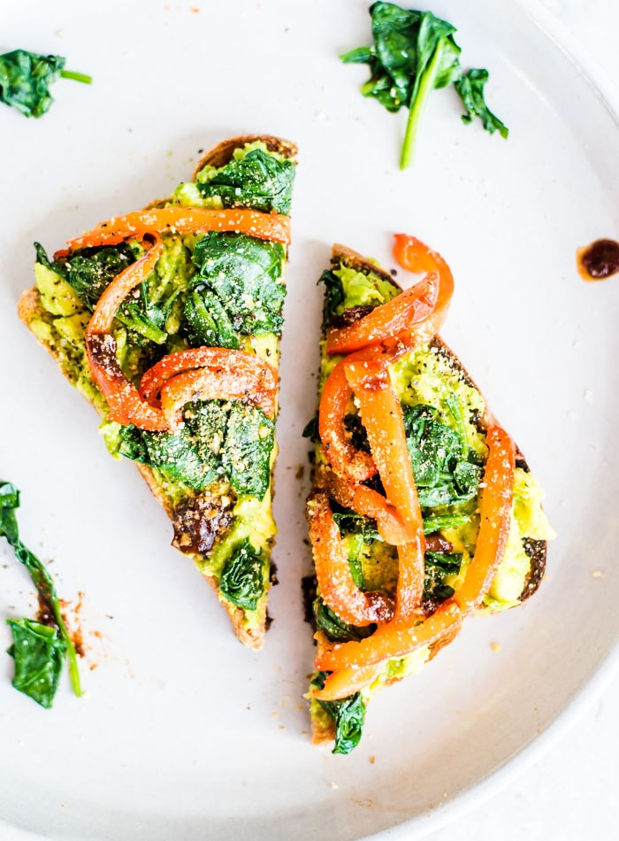 Spinach Avocado Toast with Roasted Red Peppers - Running on Real Food