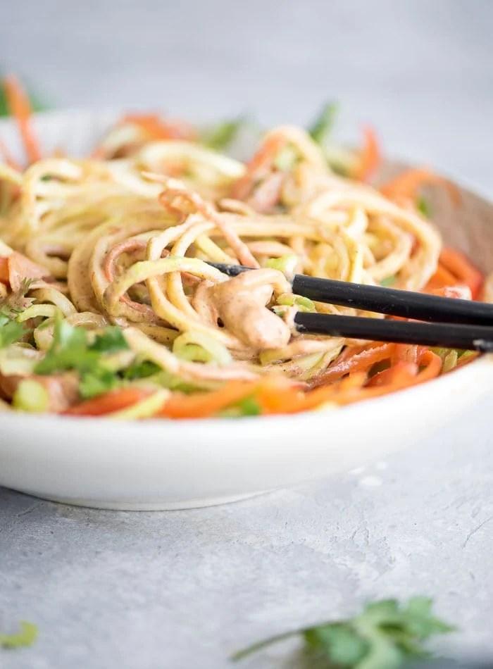 Cream Pad Thai Vegetable Noodle Salad - Running on Real Food