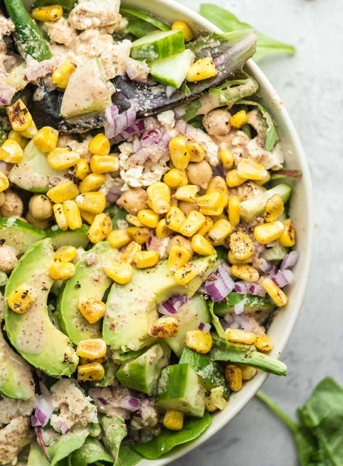 Avocado Chickpea Green Salad with Lime Almond Dressing