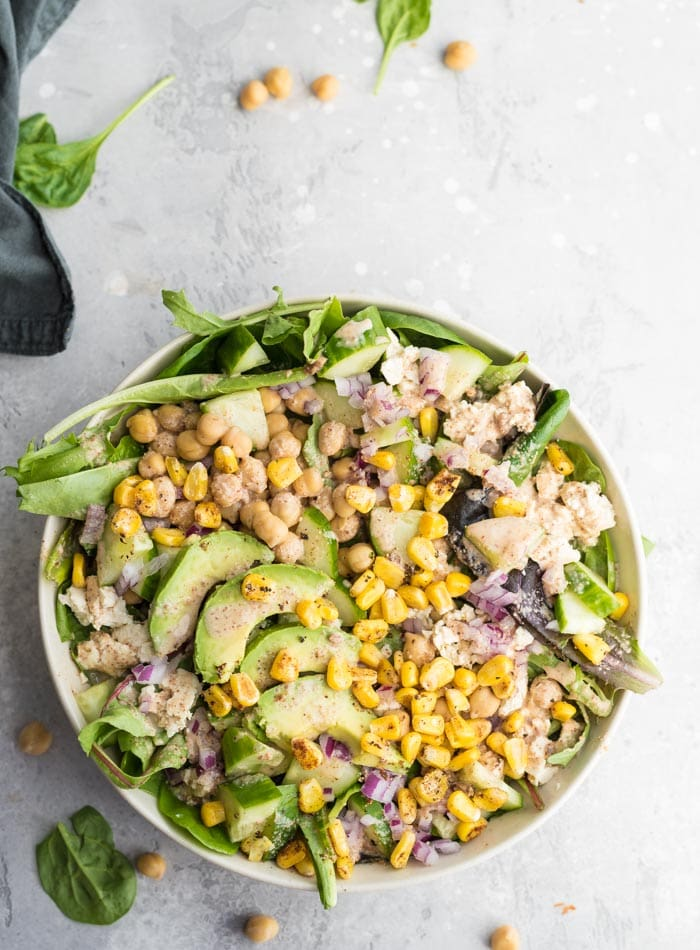 Chickpea Avocado Corn Salad - Running on Real Food