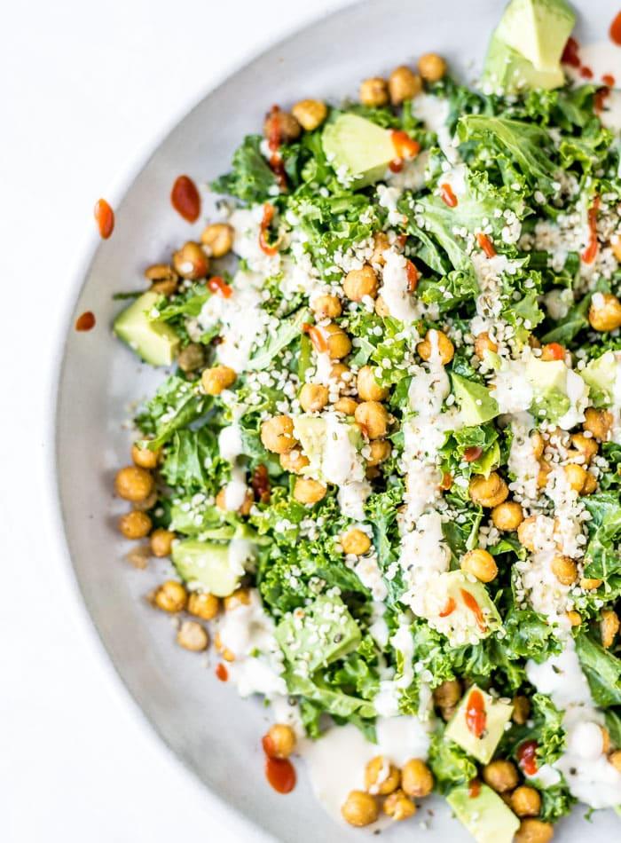 Vegan Kale Avocado Salad - Running on Real Food