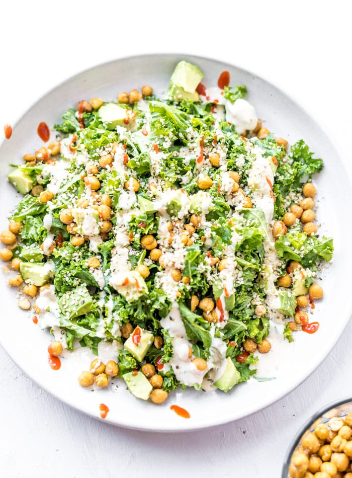 Hemp Seed Roasted Chickpea Avocado Salad - Running on Real Food