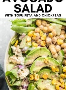 Pinterest graphic with an image and text for avocado corn salad.