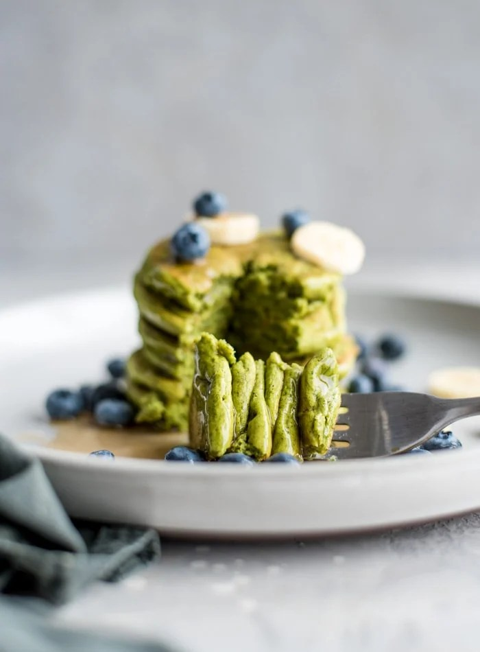 Green Spinach Vegan Pancakes - Running on Real Food