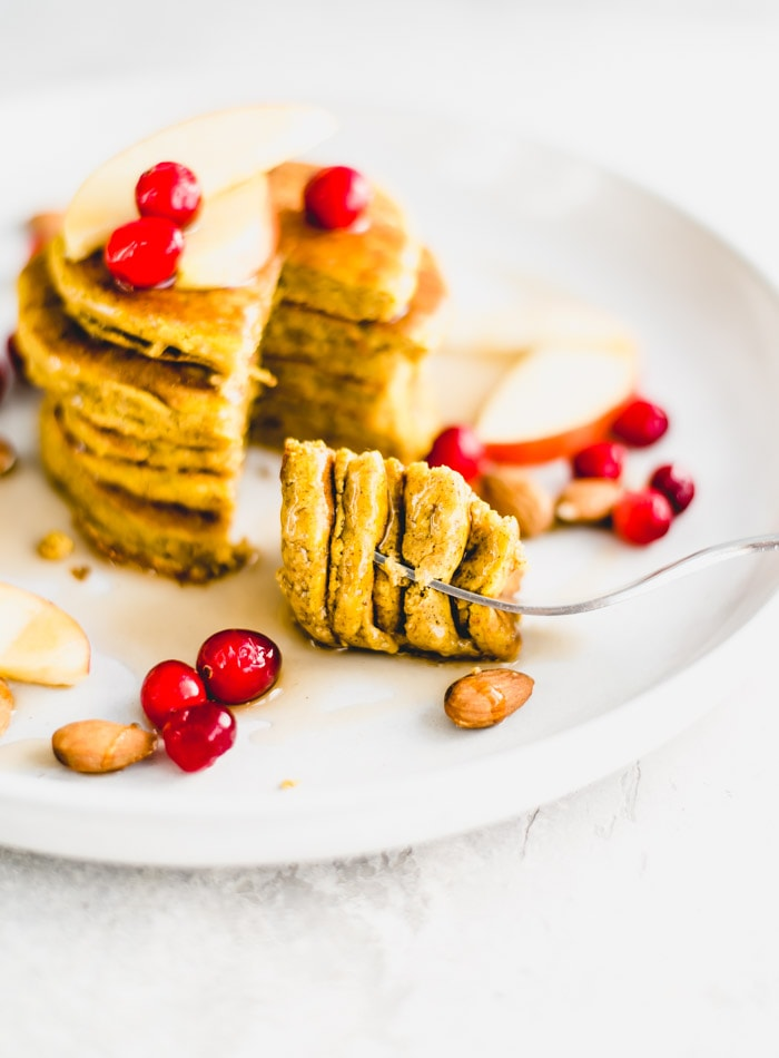 Oil-Free Sugar-Free Vegan Pumpkin Pancake Recipe - Running on Real Food