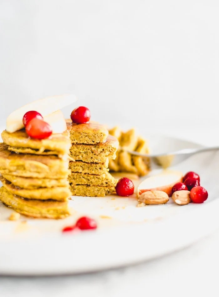 Healthy Vegan Pumpkin Pancakes Recipe - Running on Real Food