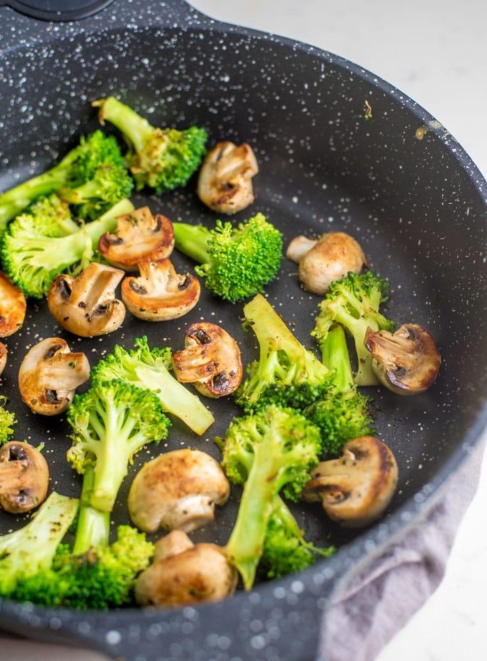 Vegan Broccoli Mushroom Sweet Potato Tofu Bowls - Running on Real Food