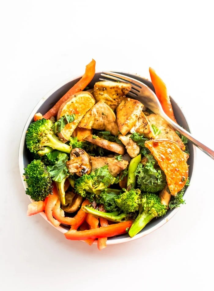 Easy Healthy Tofu Sweet Potato Bowls with Kale and Broccoli - Running on Real Food