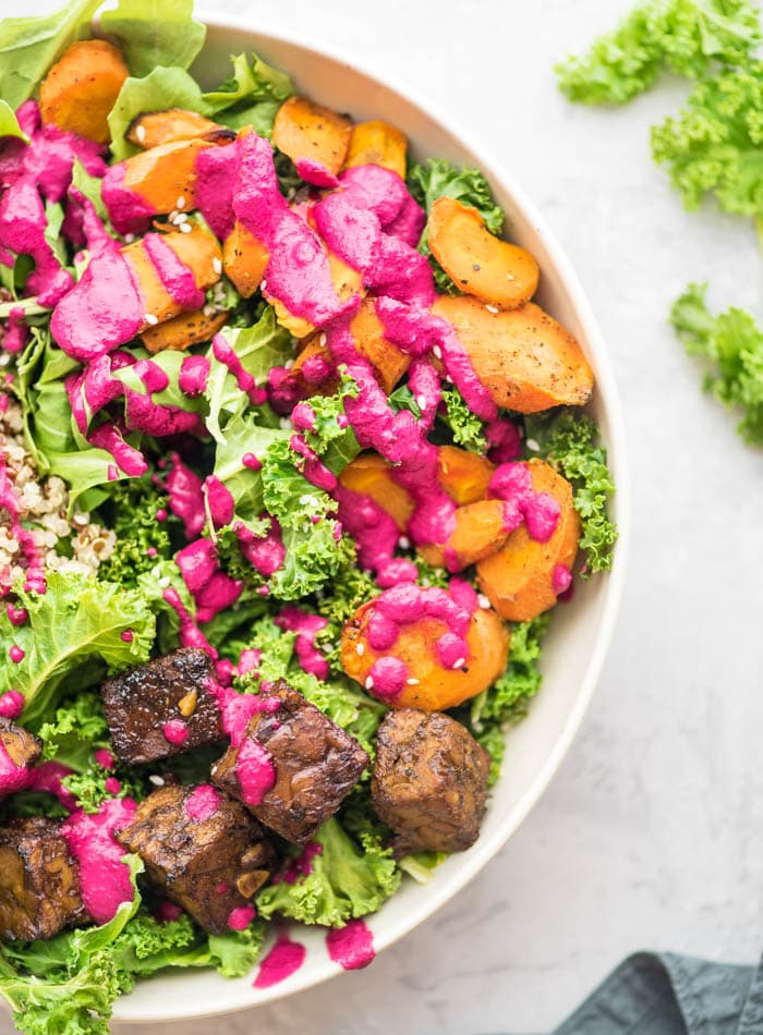 Vegan Quinoa Macro Bowl with Tempeh - Running on Real Food