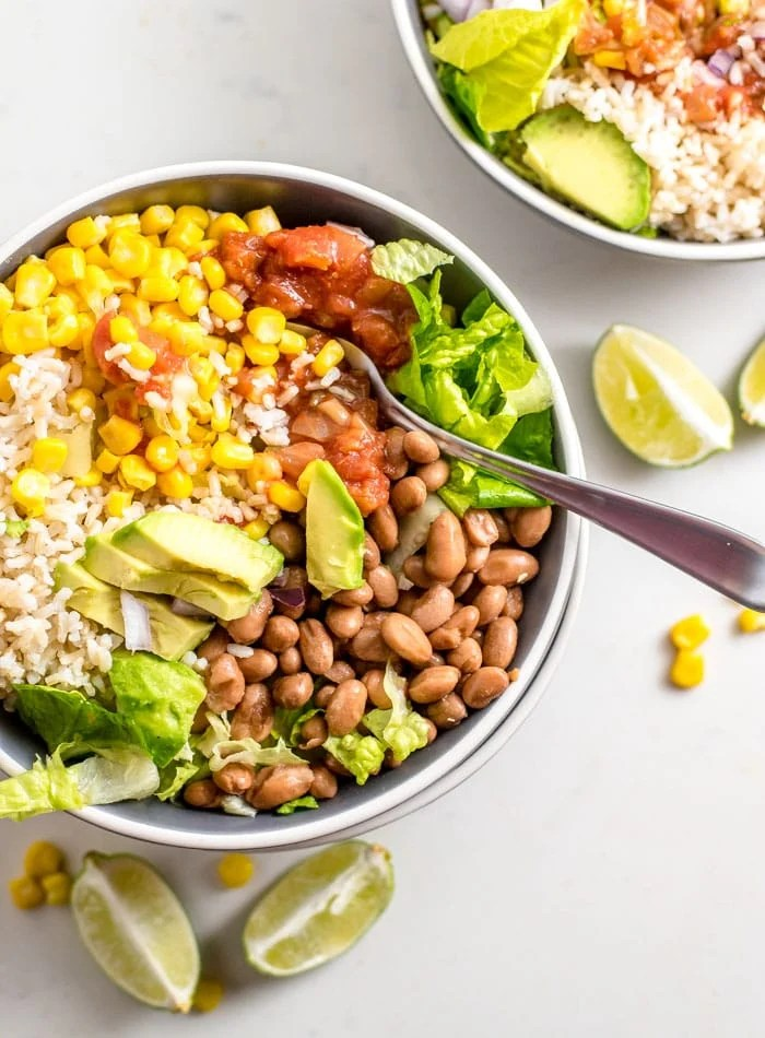 Easy Brown Rice Burrito Bowl - Running on Real Food