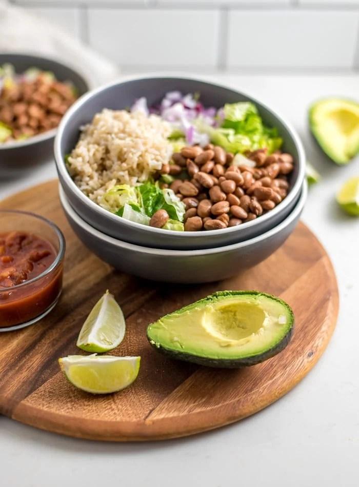 Vegan Brown Rice Burrito Bowl - Running on Real Food