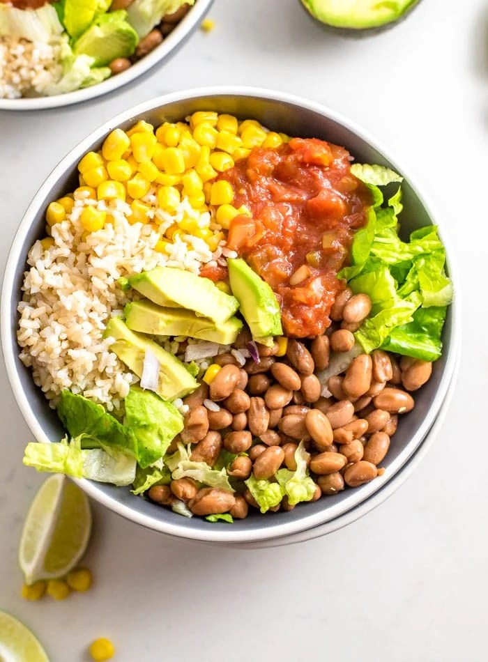 Healthy 6-Ingredient Brown Rice Burrito Bowl - Running on Real Food
