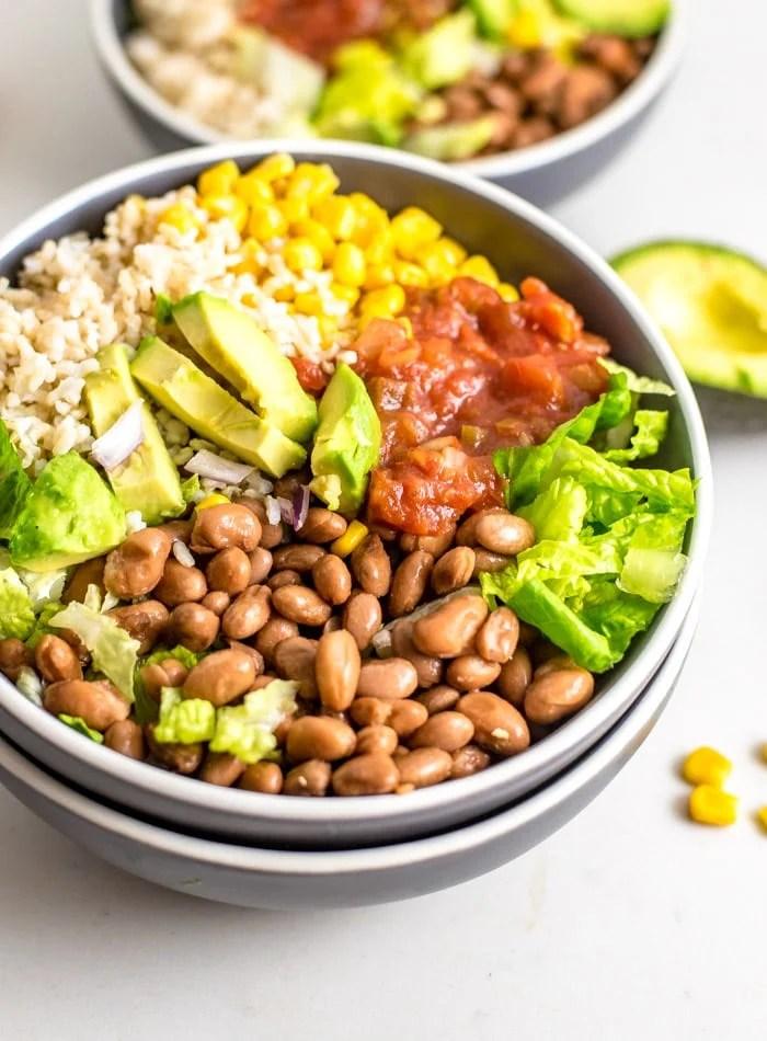 Healthy Vegan Brown Rice Burrito Bowl Recipe - Running on Real Food