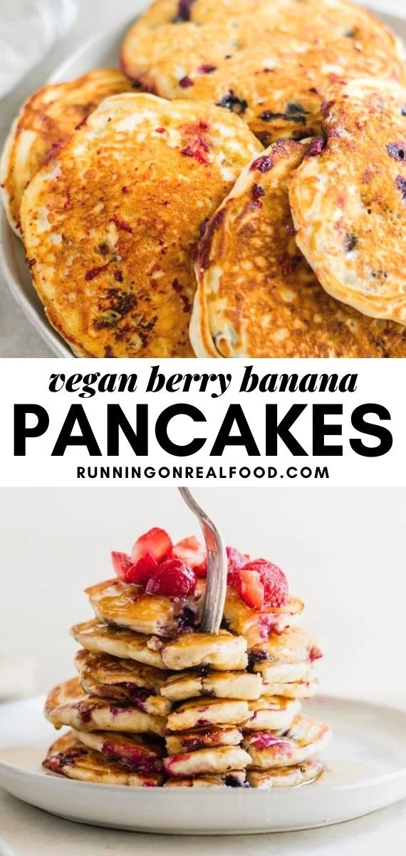 Pinterest graphic with an image and text for berry banana pancakes.