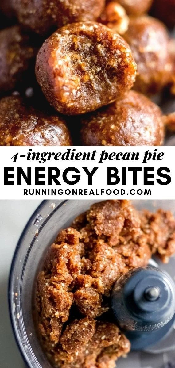 Pinterest graphic with an image and text for pecan pie bites.