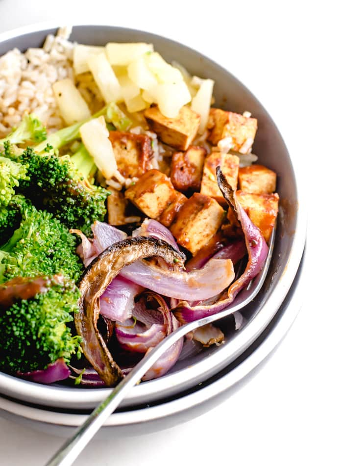 Roasted Red Onion, BBQ Tofu Brown Rice Bowl with Pineapple - Running on Real Food