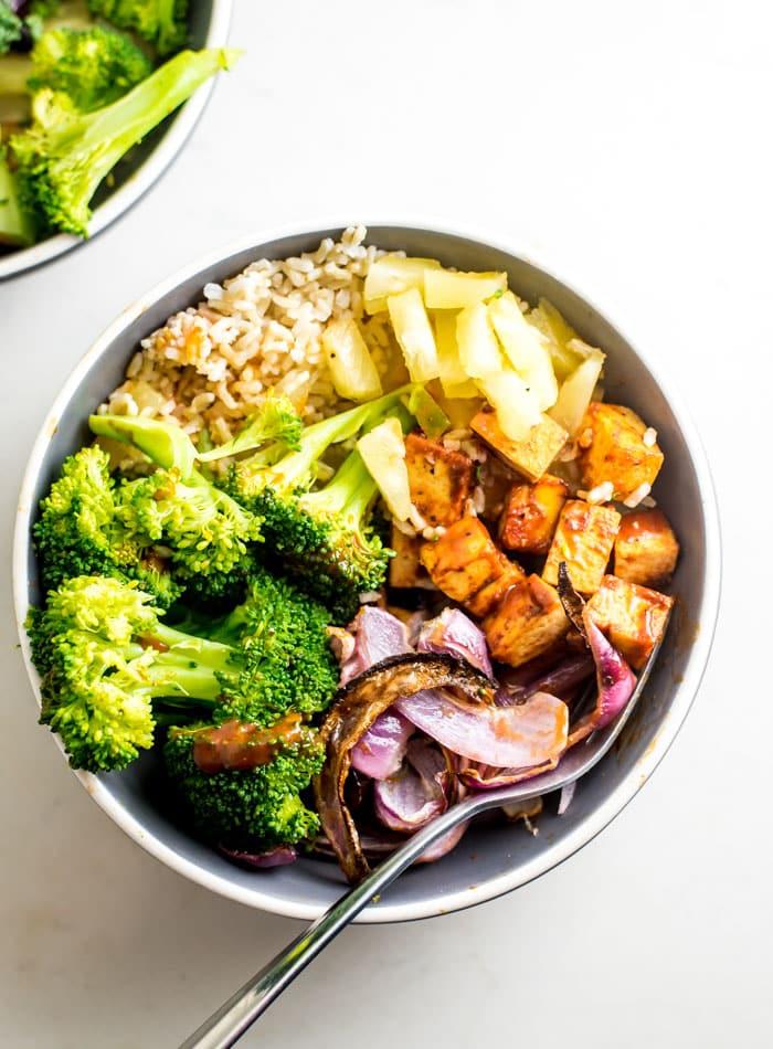 Brown Rice BBQ Tofu Bowl Recipe - Running on Real Food