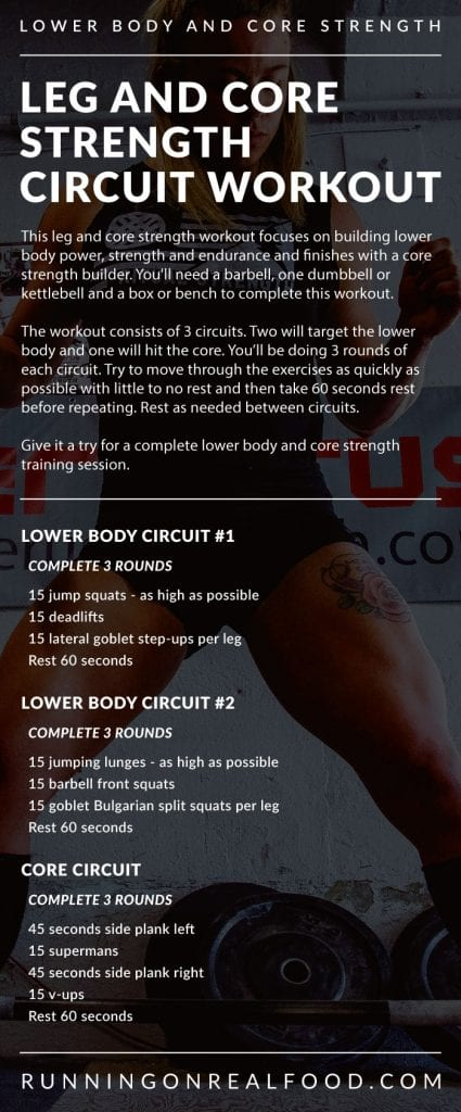Leg and Core Strength Circuit Training Workout - Running on Real Food Workuts